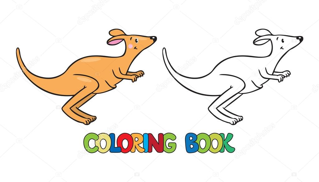 Libro para colorear de pequeño canguro — Archivo Imágenes ...
