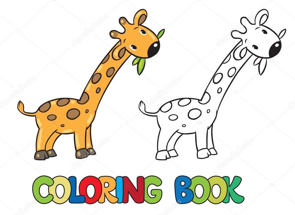 Malbuch kleine lustige Giraffe — Stockvektor © passengerz #81086104