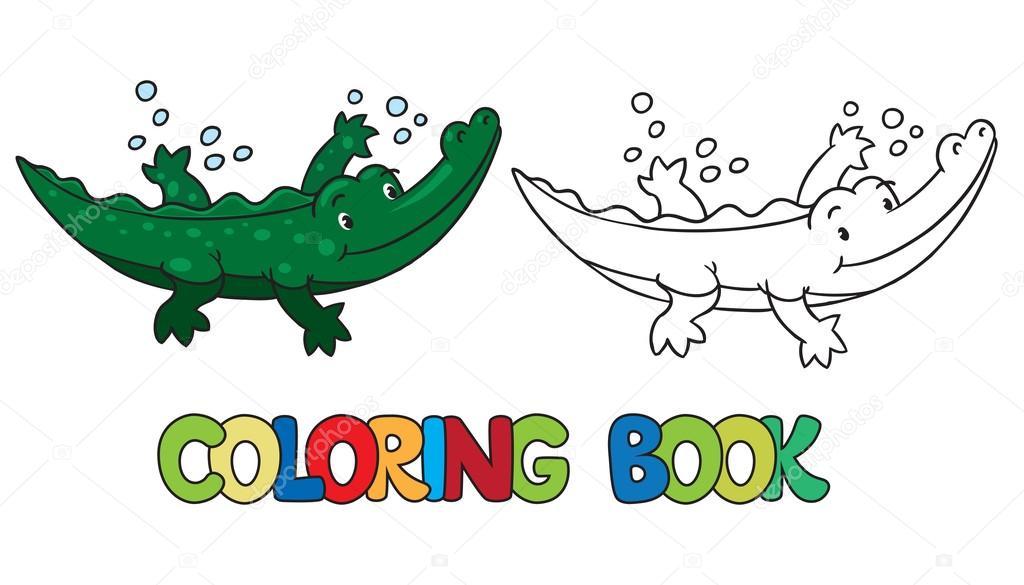 Libro de caimán o cocodrilo para colorear — Vector de stock ...