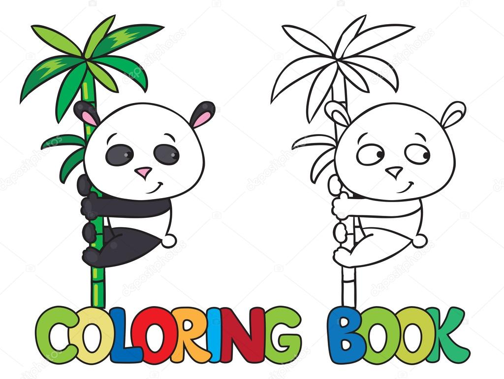 Coloring Book Of Little Panda On Bamboo Stock Vector