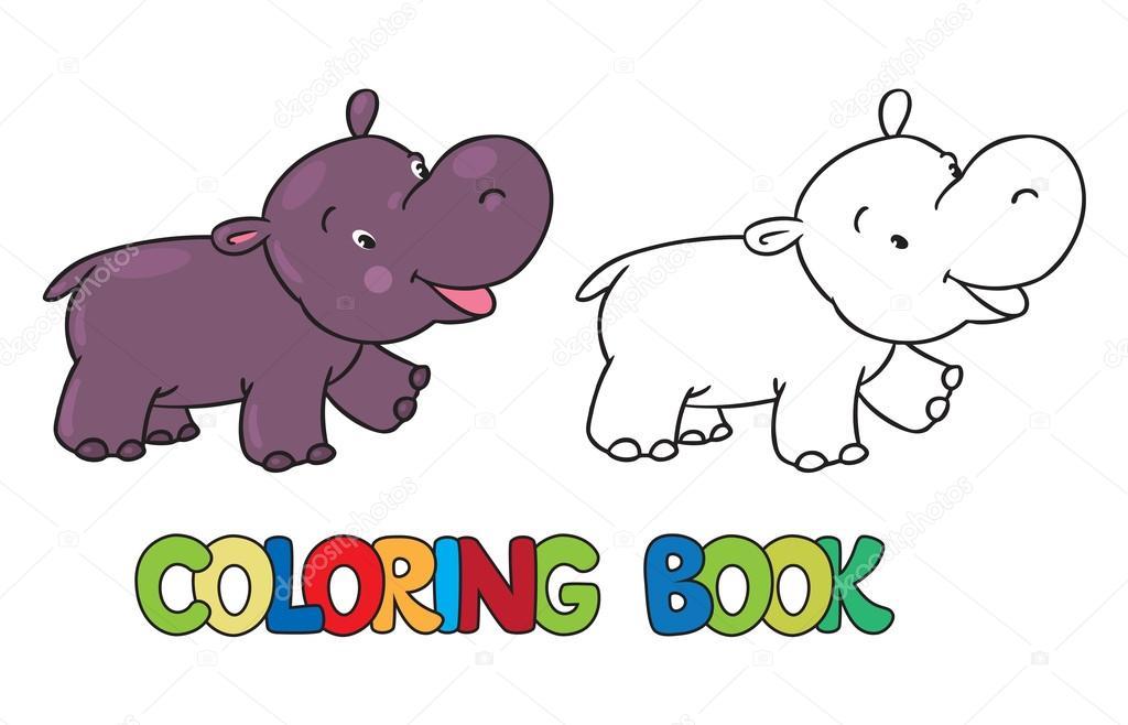 Livro para colorir de hipopótamo engraçado pequeno