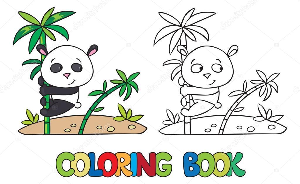 Libro para colorear del oso panda pequeño sobre el bambú — Vector de ...