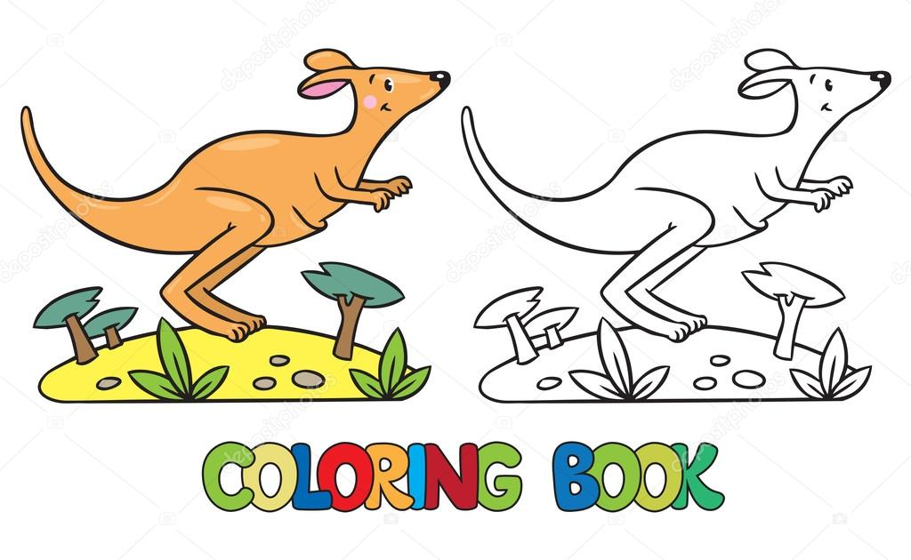 Libro para colorear de pequeño canguro — Vector de stock ...