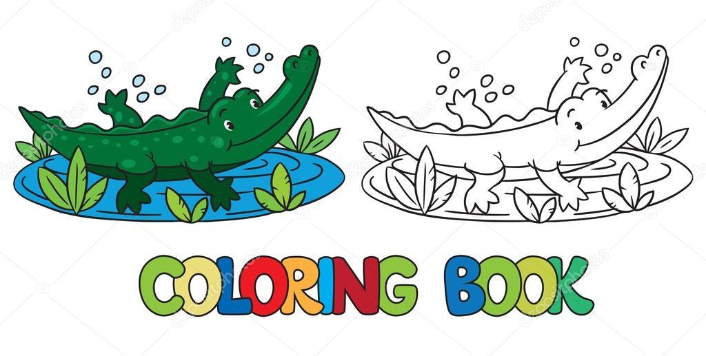Libro de caimán o cocodrilo para colorear — Archivo Imágenes ...
