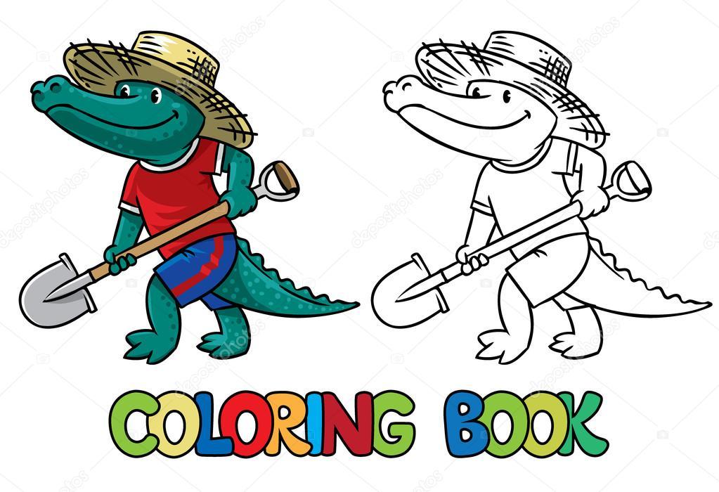 крокодил фермер книжка раскраска векторное изображение