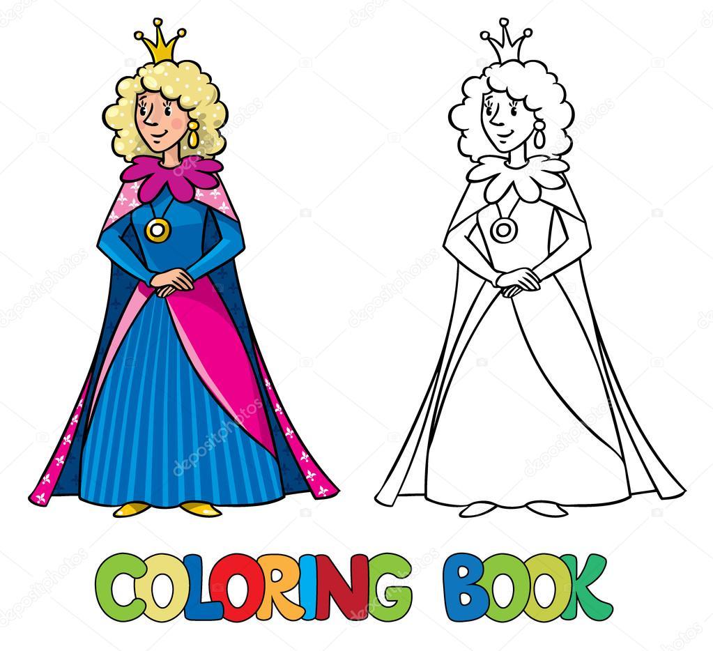Güzellik Peri Kraliçesi Ya Da Prenses Boyama Kitabı Stok Vektör