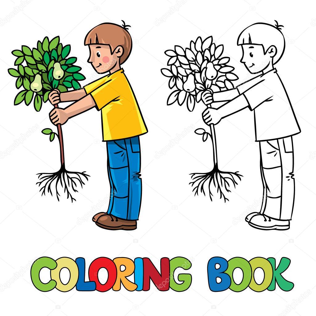 çocuk Bahçıvan Bir Ağaç Boyama Kitabı Stok Vektör Passengerz