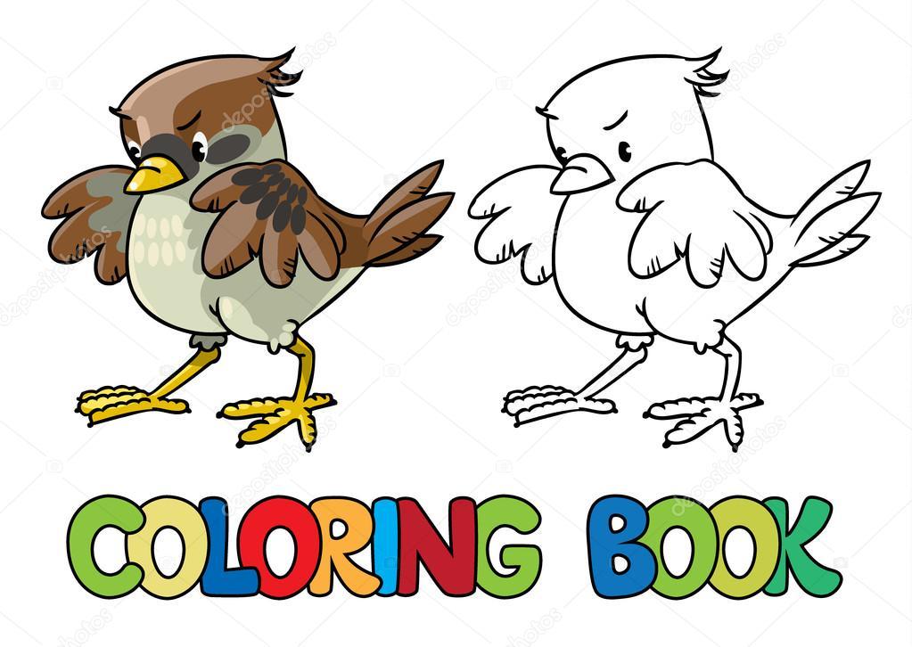 Gorrión valiente. Libro para colorear — Archivo Imágenes Vectoriales ...