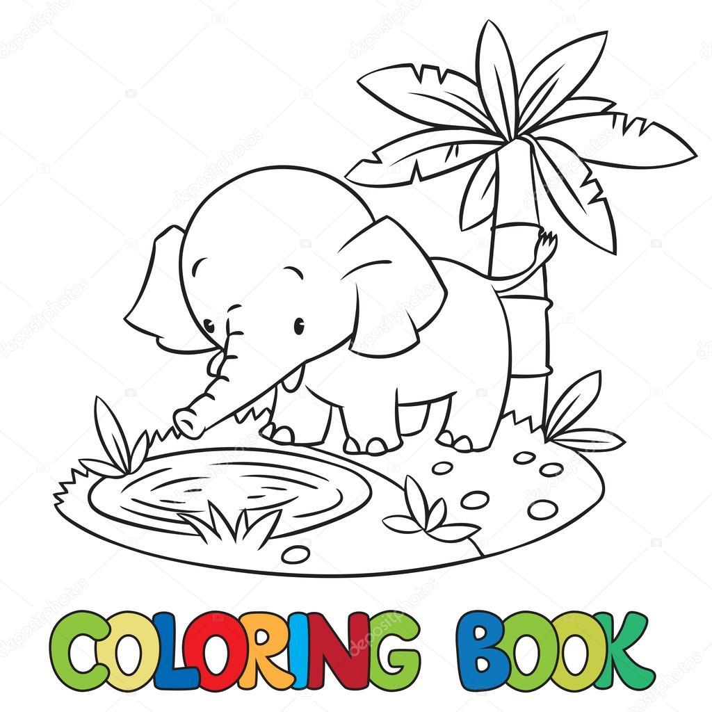 Libro de poco gracioso elefante o jumbo para colorear — Archivo ...