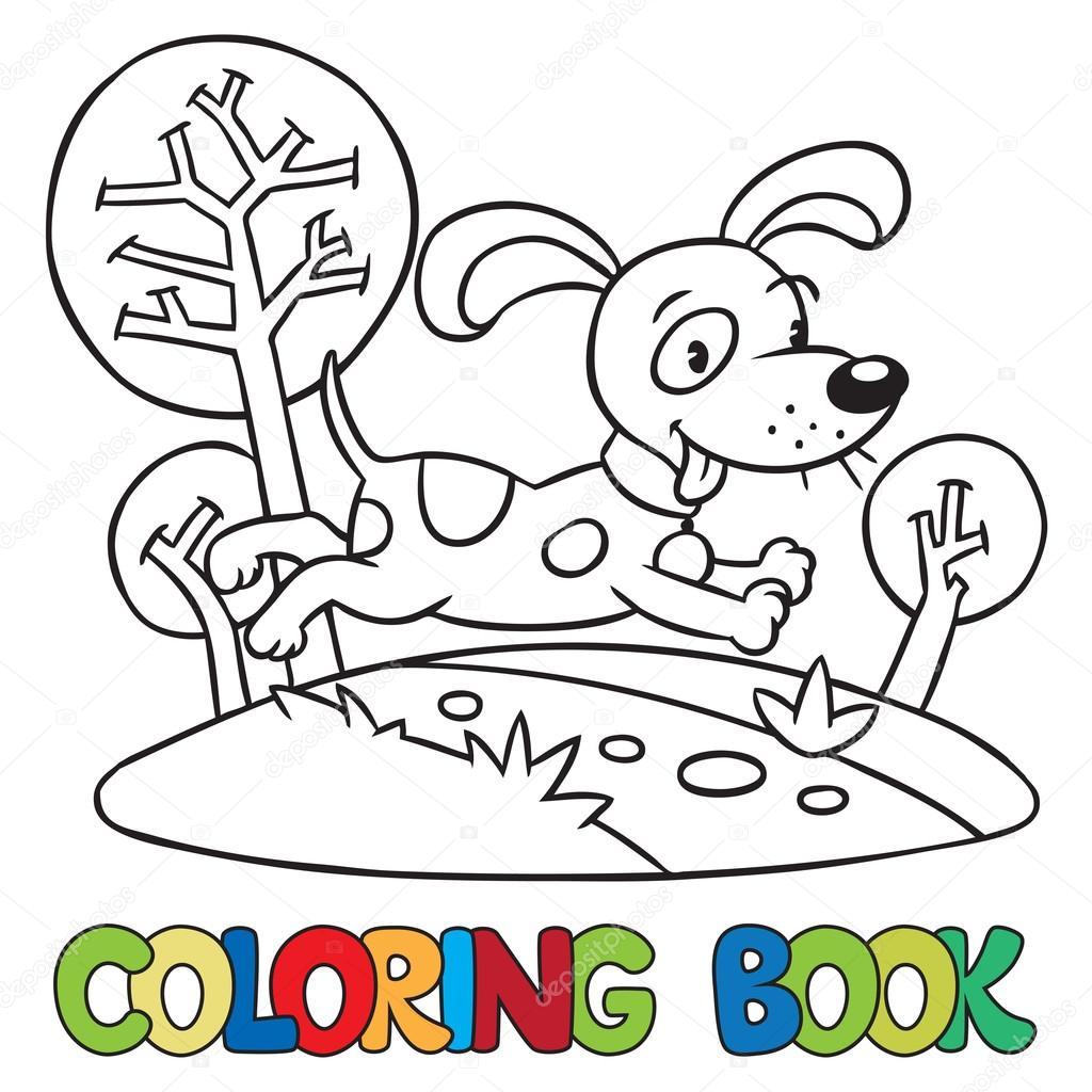 Libro para colorear de perro o cachorro — Archivo Imágenes ...