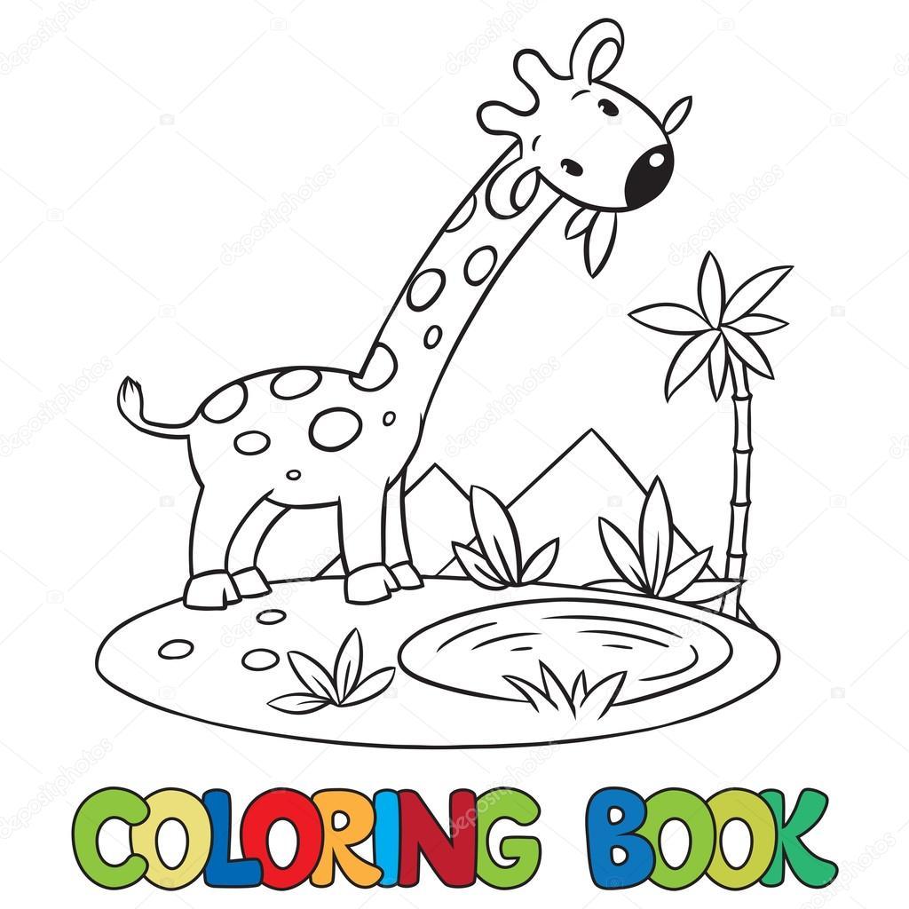 Küçük Komik Zürafa Kitap Boyama Stok Vektör Passengerz 84273214