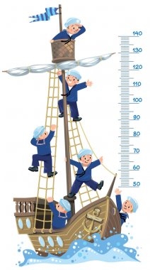 Ship meter wall. Vector illustration of a wooden sailboat with a team of six Jolly boys-sailors in vests and sailor hats clip art vector