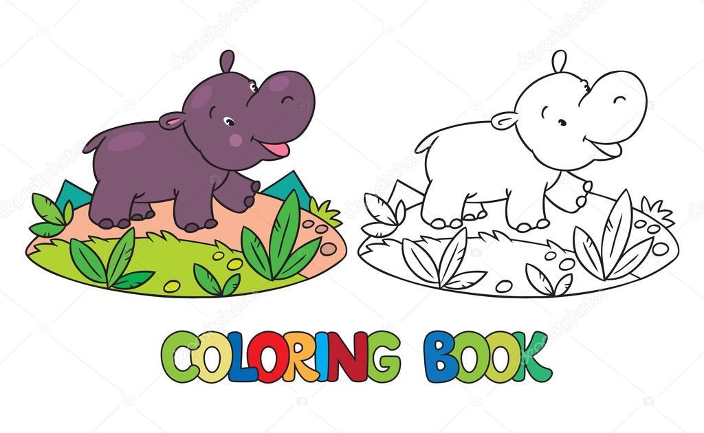 Libro de poco gracioso hipopótamo para colorear — Archivo Imágenes ...