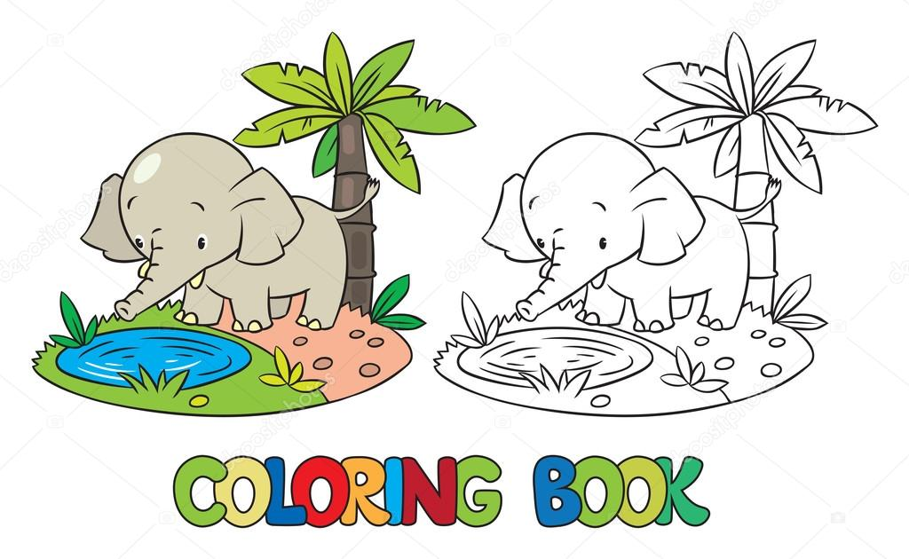 Libro de poco gracioso elefante o jumbo para colorear — Vector de ...