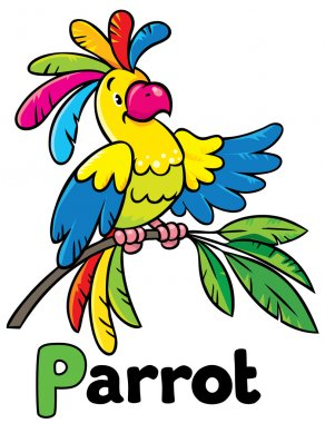 Funny parrot. Alphabet P