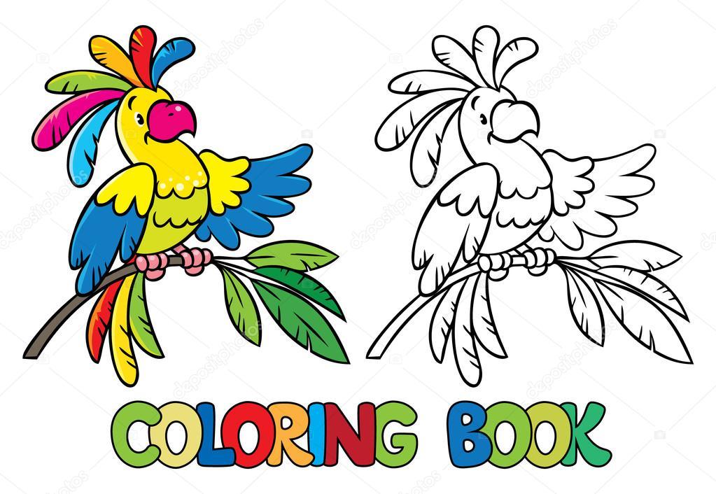 Boyama Kitabı Veya Komik Papağan Resmi Boyama Stok Vektör