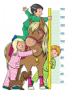 Meter wall or height meter with one girl and two boys, which measures the growth of pony clip art vector