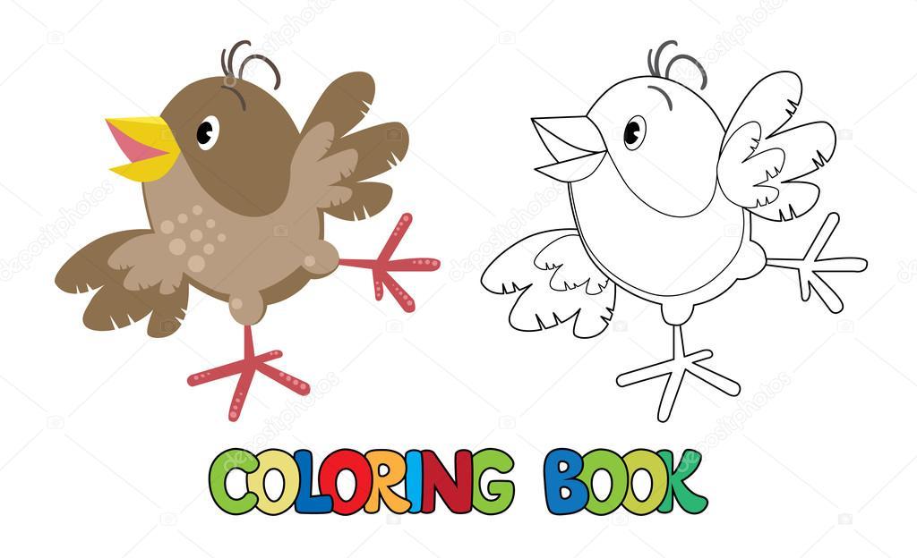Libro para colorear de pequeño gorrión curioso — Archivo Imágenes ...