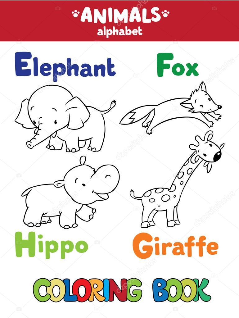 Alfabeto degli animali o abc libro da colorare - Colorazione pagine animali zoo ...