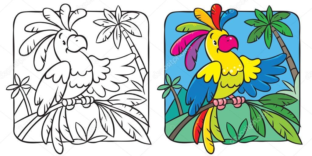 Küçük Komik Papağan Boyama Kitabı Stok Vektör Passengerz 92074278