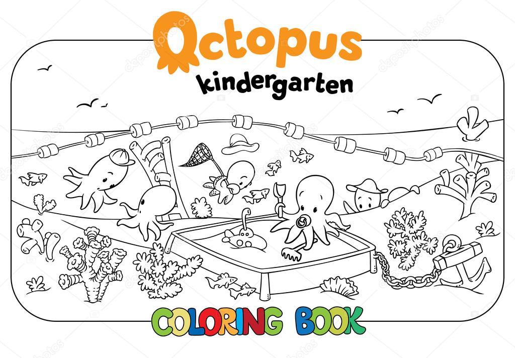 Oktopus-Kindergärten-Malbuch — Stockvektor © passengerz #94831148