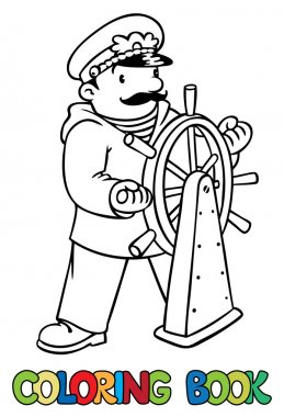 Funny captain or yachtman. Coloring book