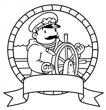 Funny captain or yachtman. Coloring book. Emblem
