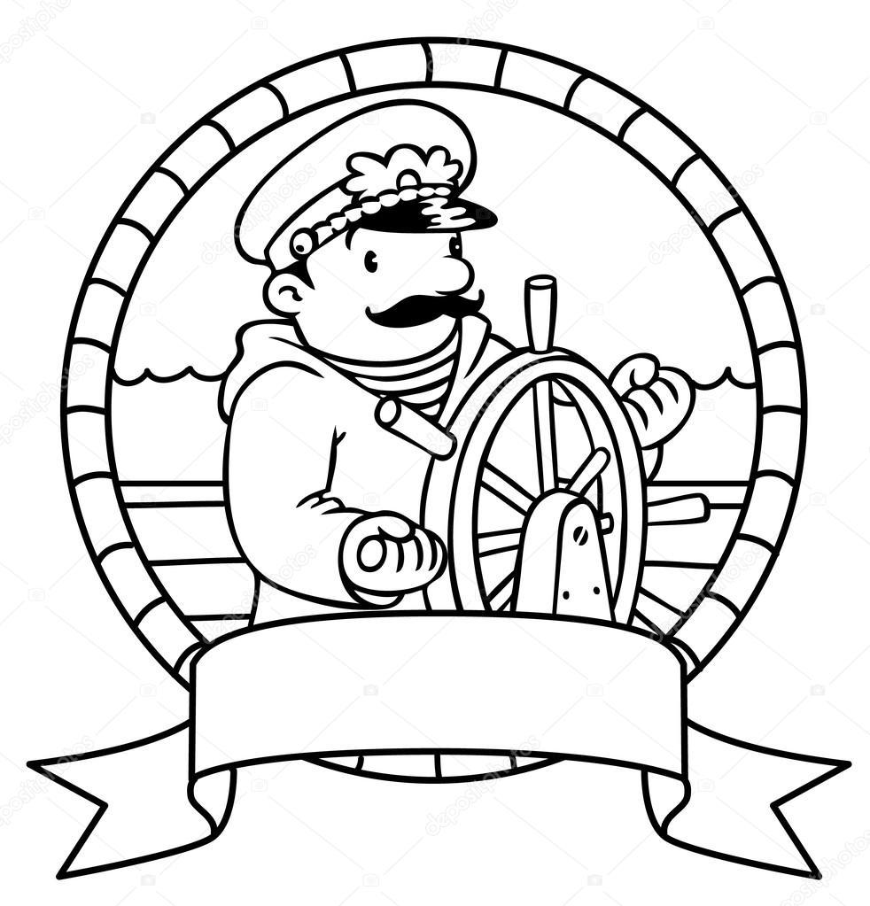 grappige kapitein of yachtman kleurboek embleem