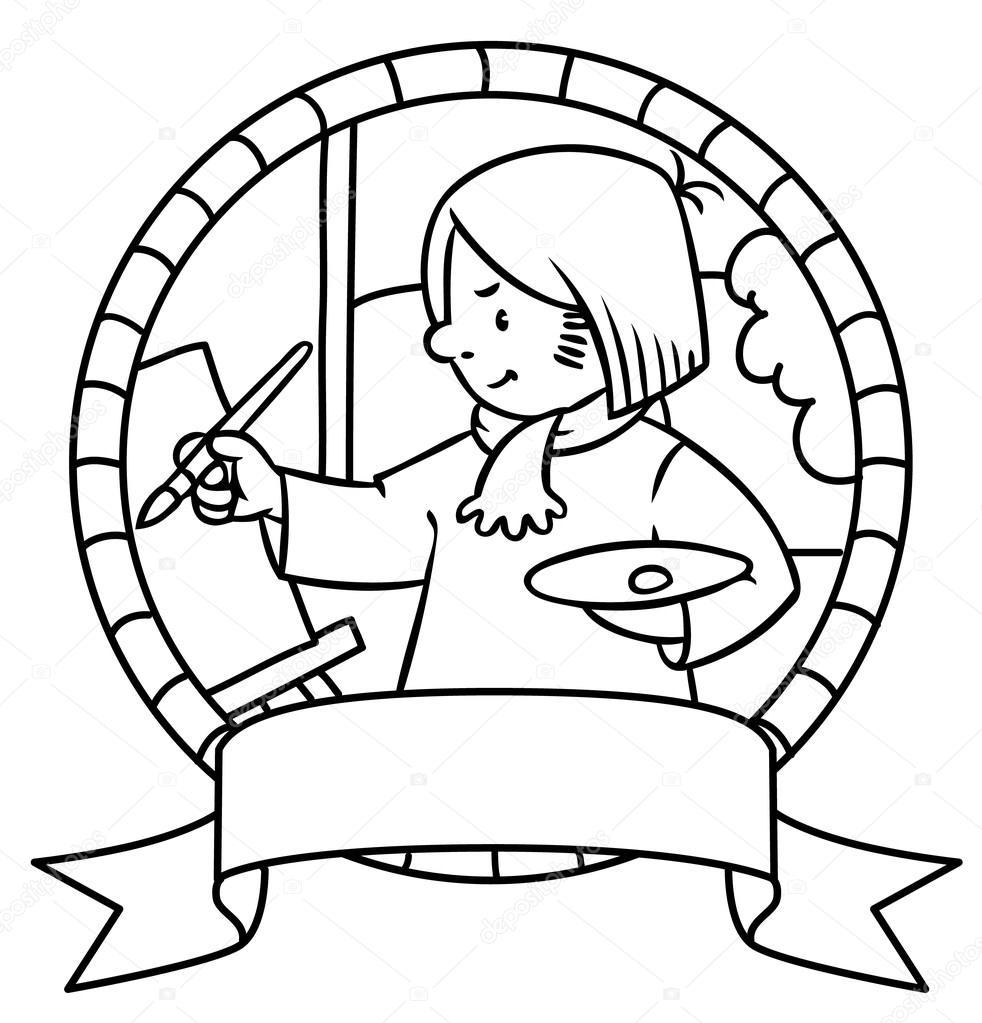Divertido artista o pintor. Libro de colorear. Emblema de — Vector ...