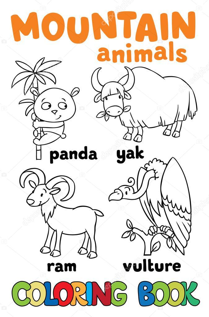 Dibujos: animales de montaña para colorear | Conjunto de animales de ...