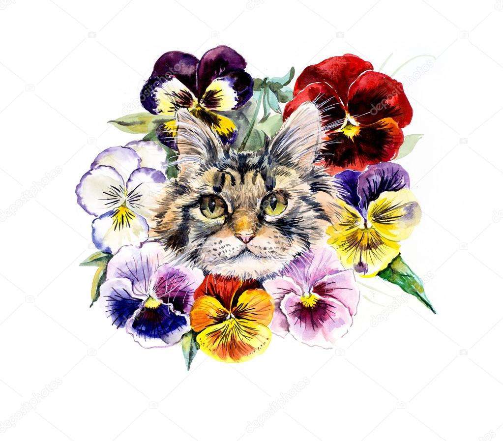 Cat With Flowers Wreath From Violets Stock Photo Budogosh