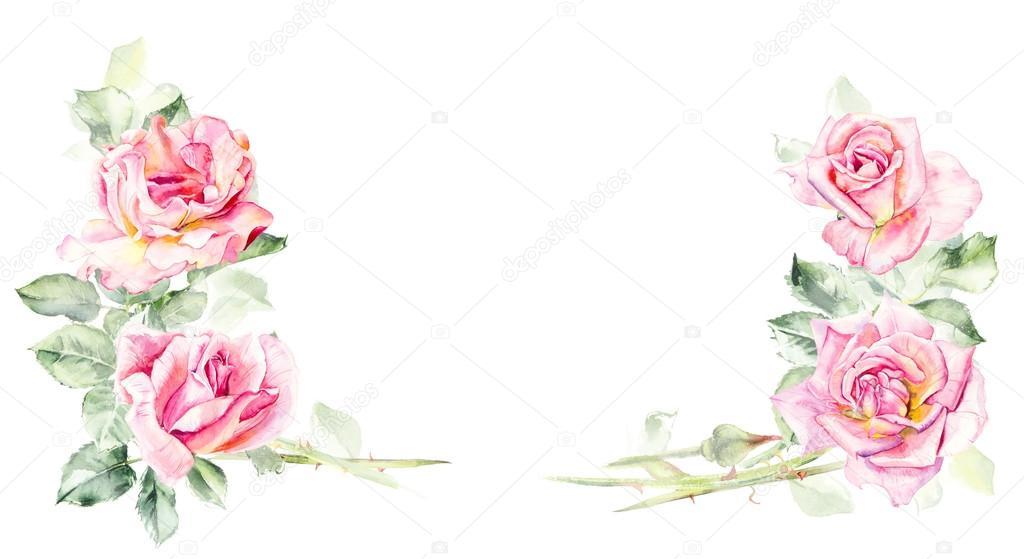 Marco de rosas. Dibujos de boda. Tarjetas de felicitación — Fotos de ...