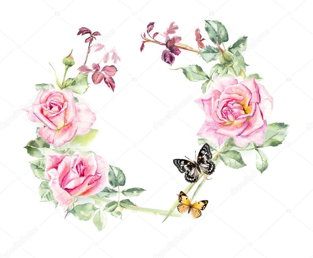 Marco de rosas. Dibujos de boda. Tarjetas de felicitación — Foto de ...