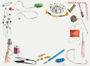Sewing kit. Scissors, bobbins with thread and needles. Threads & tools for embroidery.