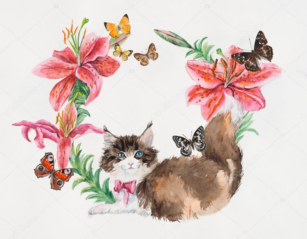 Kitten with lilies. Cat in flower circle.