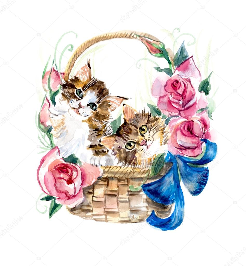 Cat Basket Clipart : Two kitten on the basket with flowers stock photo
