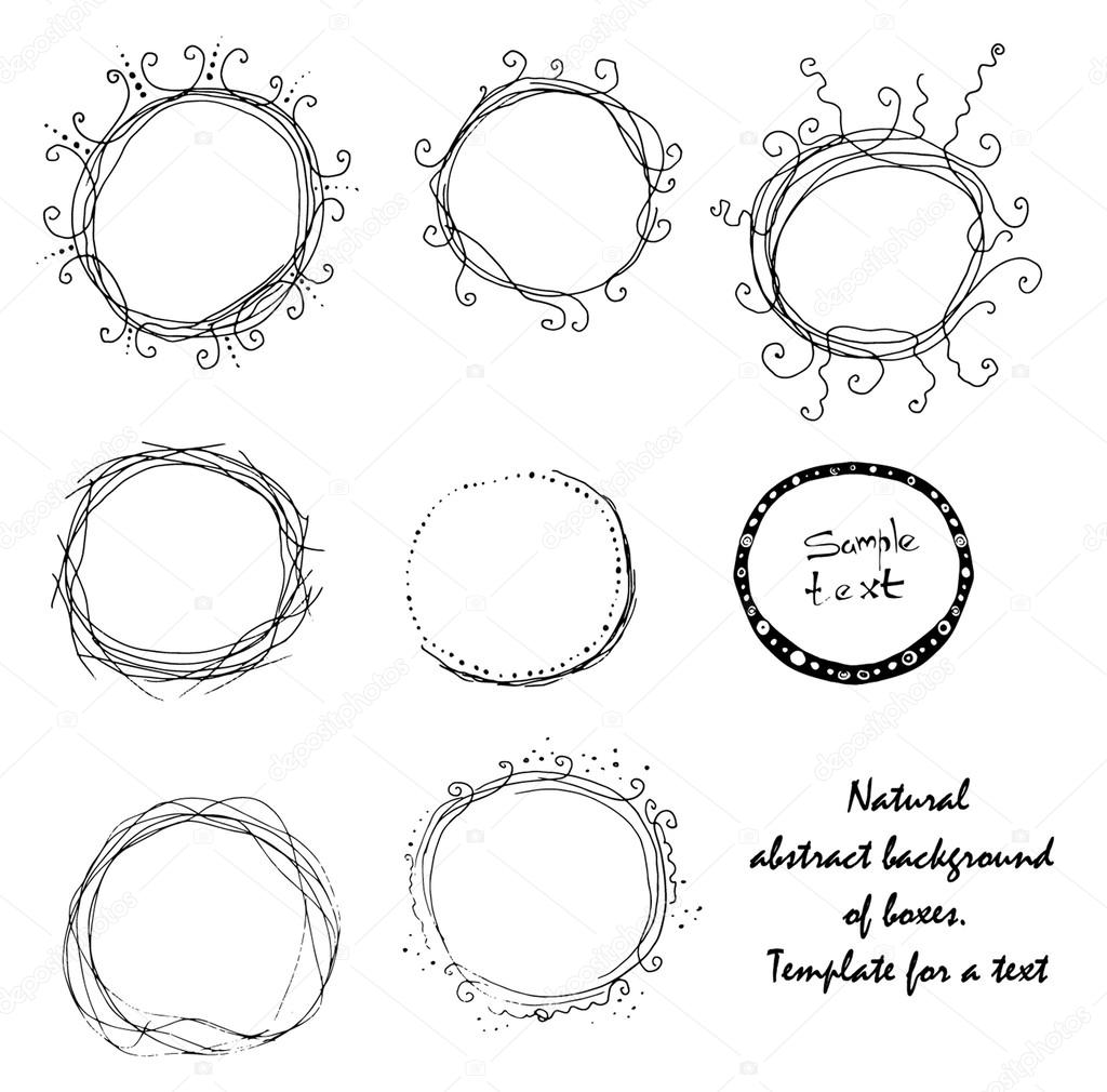 Set of dainty black and white hand-drawn floral and foliate borders and wreaths for decorative design elements