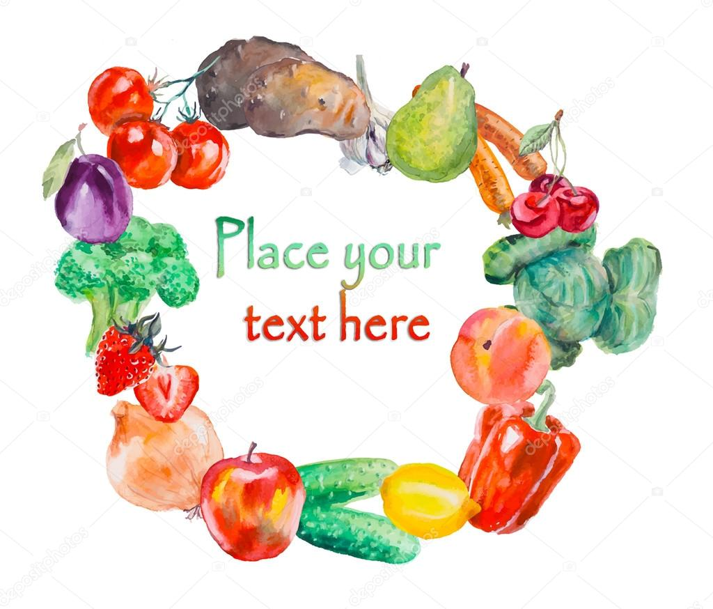 Frame from vegetables & fruits. Healthy food.