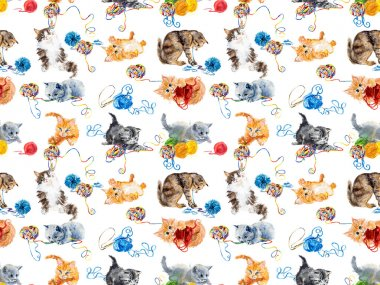 Seamless cats & yarns.