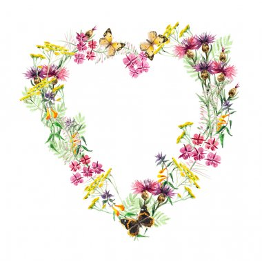 Heart frame from flowers. Greeting cards. Flower backdrop.