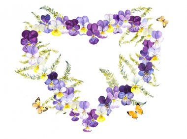 Heart frame from violets with butterflies.