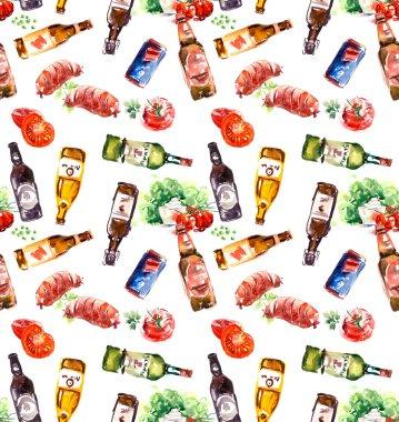 Beer bottles seamless pattern.