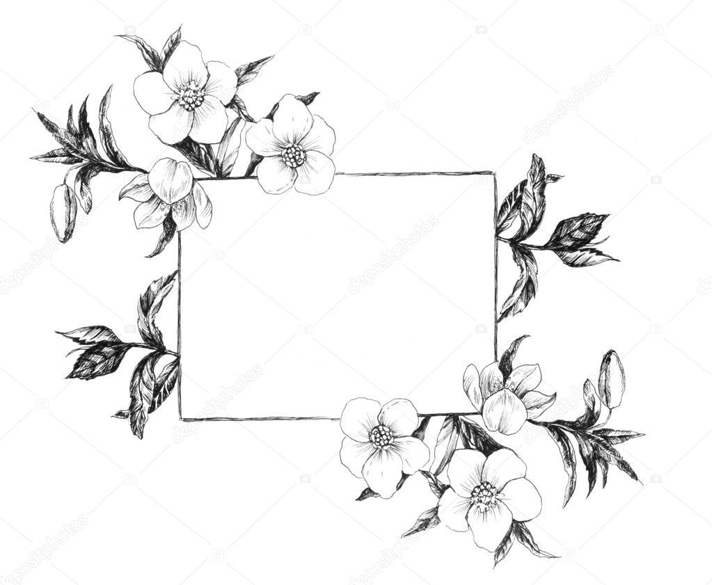 Spring flowers. Vintage frame.