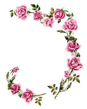 Frame from roses. Roses brunch. Pattern from roses.
