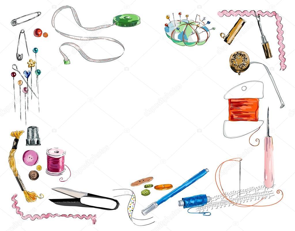 Marco de herramientas de costura y cinta de color — Vector de stock ...