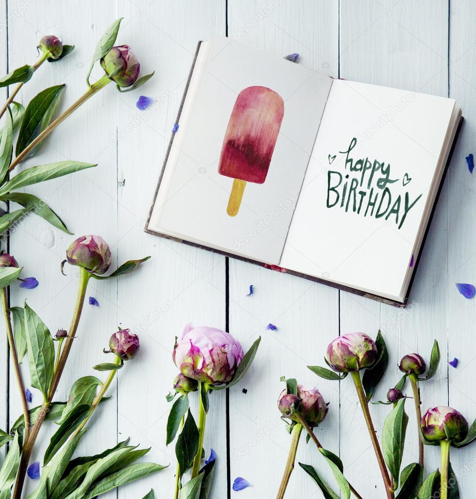 Peonies Flowers With Sketchbook Happy Birthday Hipster Decoration