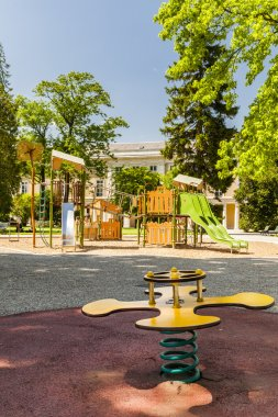 Yellow game for childrens in a park