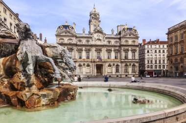 The Terreaux square with fountain in Lyon city