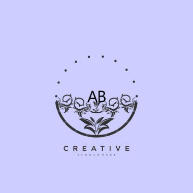 AB Beauty vector initial logo art, handwriting logo of initial signature, wedding, fashion, jewerly, boutique, floral and botanical with creative template for any company or business. icon