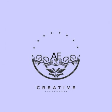 AE Beauty vector initial logo art, handwriting logo of initial signature, wedding, fashion, jewerly, boutique, floral and botanical with creative template for any company or business. icon